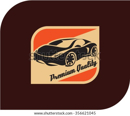 sports car label - stock vector