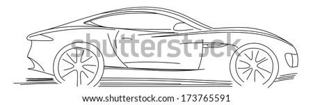 Sports Car Sketch Blueprint - stock vector