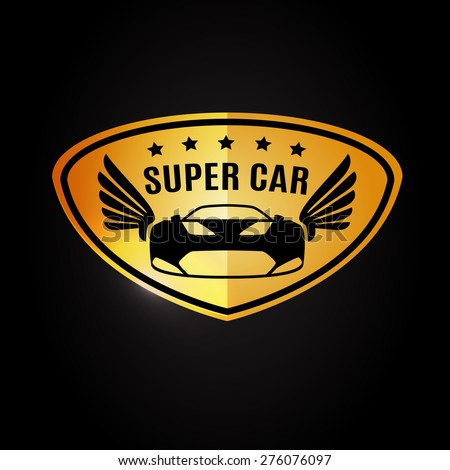 Sports Car Vehicle Silhouette Wings Logo Stock Vector - Car sign with wings