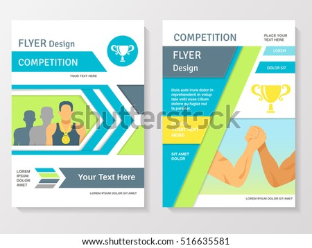 Sports Competition Flyer Template Winner Partnership Stock Vector