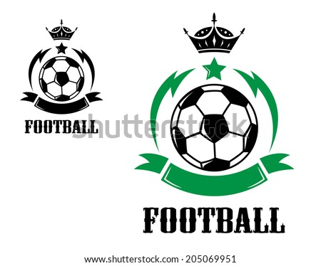 "Sports crests or emblems or logo with soccer ball, crown and ribbon with text ""Football"" at the foot of the image in different colors isolated over white background - stock vector"