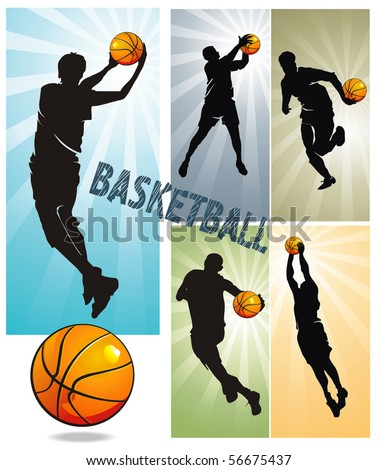Sports design elements for Web. Basketball Players. Vector illustration sports series. - stock vector