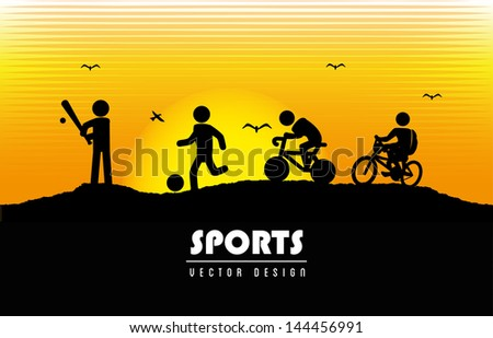 sports design over late afternoon background vector illustration - stock vector