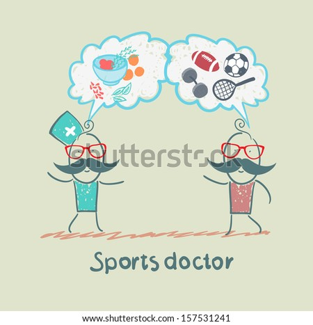 Sports doctor speaks to man of sport and healthy food - stock vector
