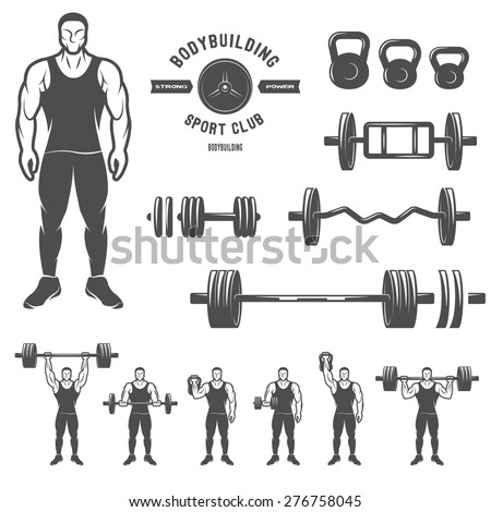 Sports equipment for bodybuilding and exercise. - stock vector