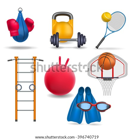 Sports equipment. Gym wall bars, sports rings,  gym ball, dumbbell and barbell, tennis racket and ball, punching bag and boxing gloves, basketball and basketball hoop, flippers and swimming goggles.  - stock vector