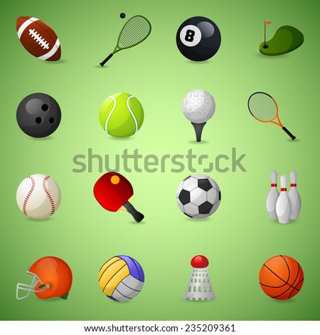 Sports equipment icons set with team games balls and rackets isolated vector illustration - stock vector