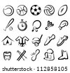 sports equipment set, isolated vector icons - stock photo