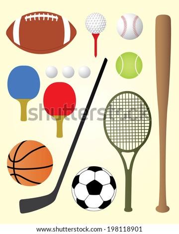 Sports Equipment Value Pack - Vector Set - stock vector