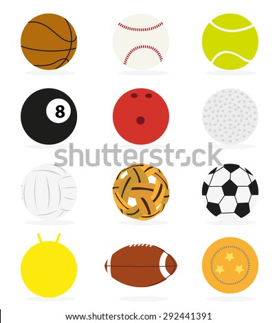 Sports equipment various types of balls and white background. - stock vector