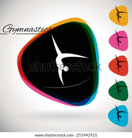 Sports Event icon/symbol - Gymnastics. 1 Multicolor and 5 monotone options. - stock vector