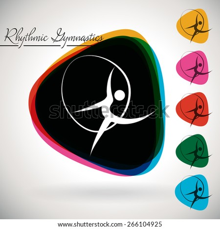 Sports Event icon/symbol -  rhythmic gymnastics. 1 Multicolor and 5 monotone options. - stock vector
