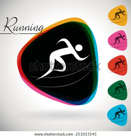 Sports Event icon/symbol - Running, Sprint, Athletics. 1 Multicolor and 5 monotone options.  - stock vector