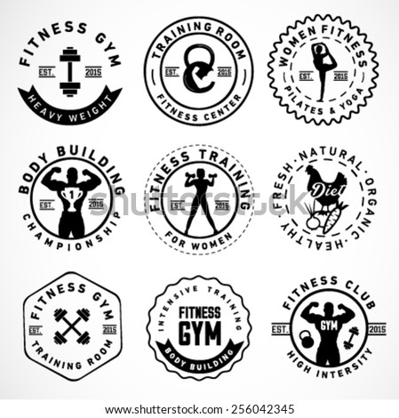 Sports, Fitness, Body Building, Yoga Badges and labels in Vintage Style - stock vector