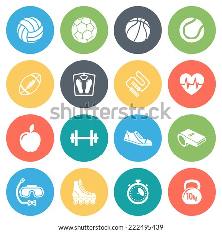 Sports, fitness round vector icons collection in pastel colors. Isolated on white background. - stock vector