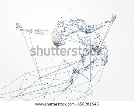 Sports Graphics,Network connection turned into, vector illustration.