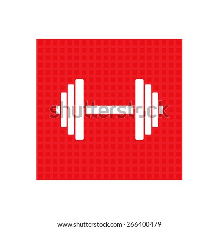 Sports gym equipment. Dumbbell - Vector icon isolated. red square button. - stock vector