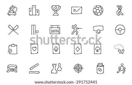 Sports Hand Drawn Doodle Icons - stock vector