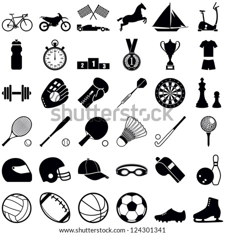 Sports icon collection - vector silhouette illustration - stock vector