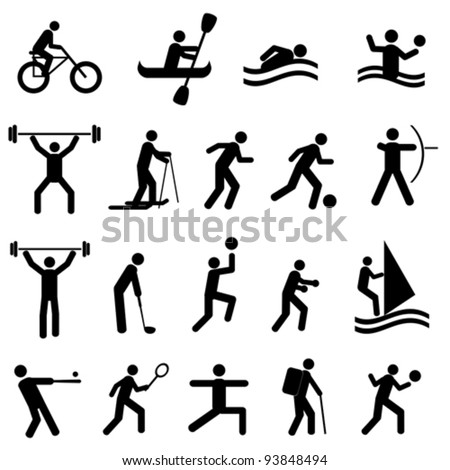 Sports icon set in black - stock vector