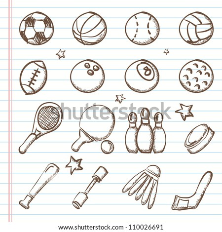 Sports icons-Doodles - stock vector