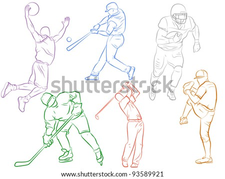 Sports Icons - Drawn Modern - stock vector