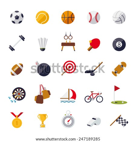 Sports icons flat design isolated vector set. Collection of 25 flat design sports and gymnastics vector icons isolated on white background - stock vector