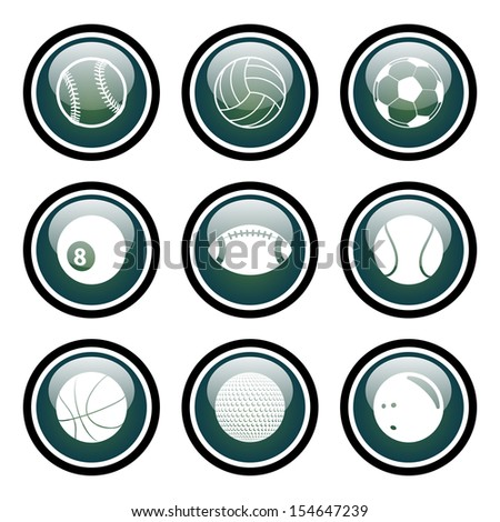 Sports Icons Glass Button Icon Set - stock vector