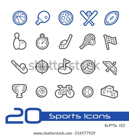 Sports Icons // Line Series - stock vector
