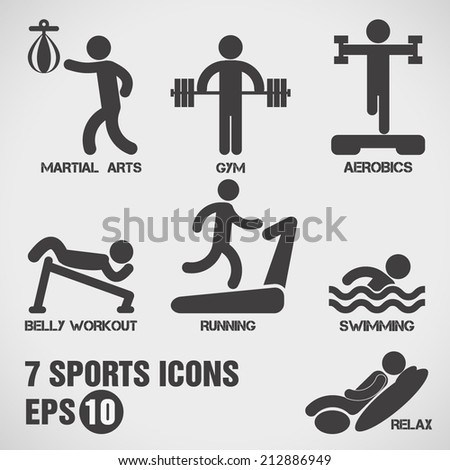 Sports icons set. - stock vector