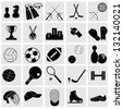 Sports icons set Elegant series.Sport and hobby icon set. - stock photo