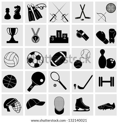 Sports icons set Elegant series.Sport and hobby icon set. - stock vector