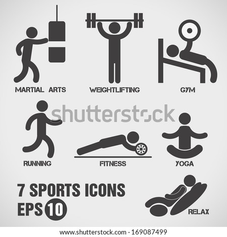 Sports icons, vector. - stock vector