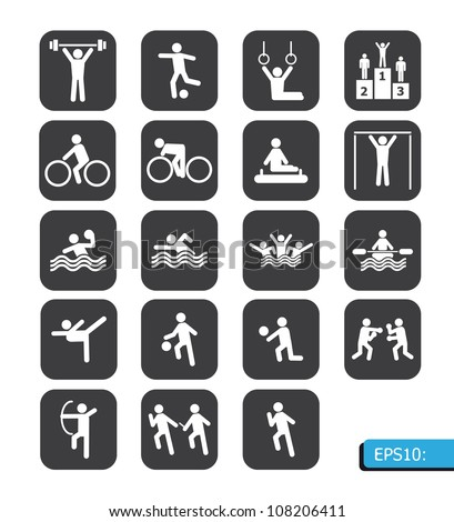 sports icons vector on black button - stock vector