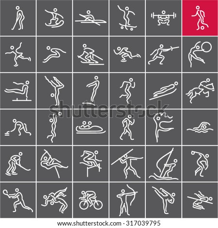 Sports icons vector set. Olympic sports. - stock vector