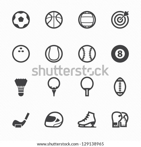 Sports Icons with White Background - stock vector