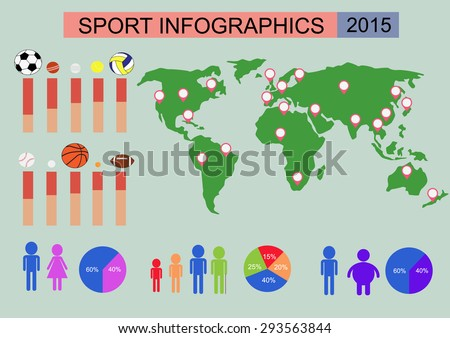 Sports infographic template linear circle charts stock vector 2018 sports infographic template with linear and circle charts and world map tennis and golf gumiabroncs Images