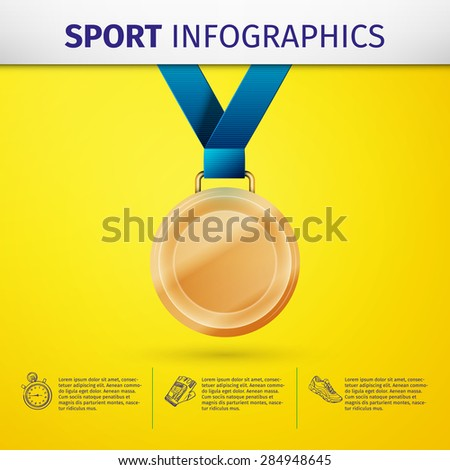 Sports infographics with gold medal. Vector elements for you design - stock vector