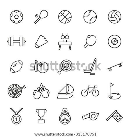 Sports Line Icons Collection. Vector set of 25 black sports related line icons. - stock vector