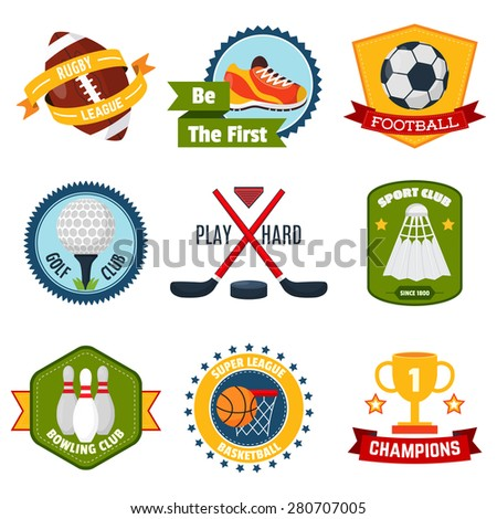 Sports logo set with rugby golf bowling equipment isolated vector illustration - stock vector