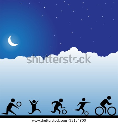 sports moon - stock vector
