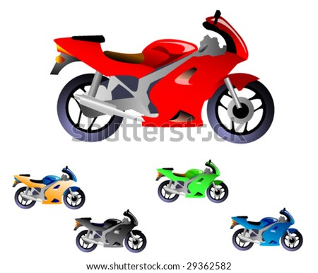 sports motorcycle - stock vector