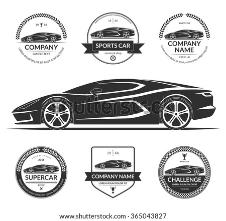 Sports Super Car Silhouette Set Car Stock Vector