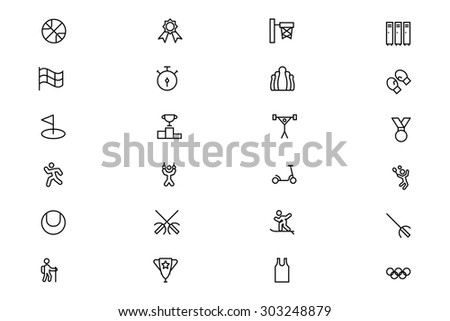 Sports Outline Vector Icons 3  - stock vector
