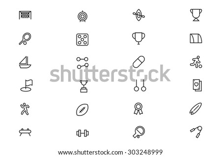 Sports Outline Vector Icons 4  - stock vector