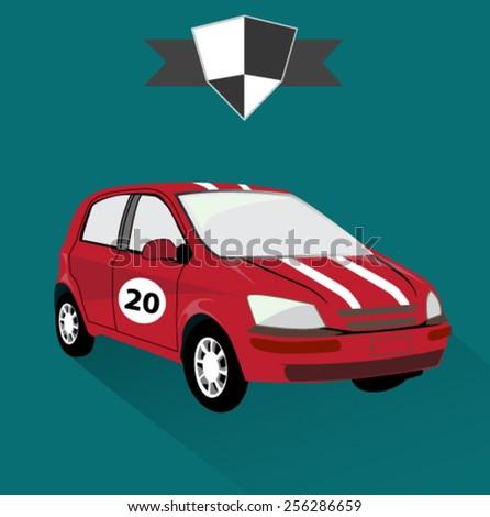 sports racing car icon - stock vector