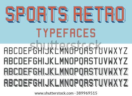 Sports retro typefaces - stock vector