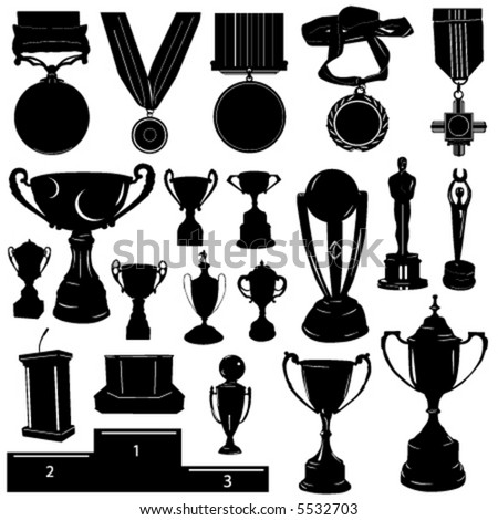 sports reward vector (medal, cup and other objects) - stock vector