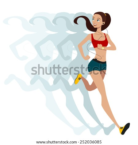 Sports running girl . - stock vector