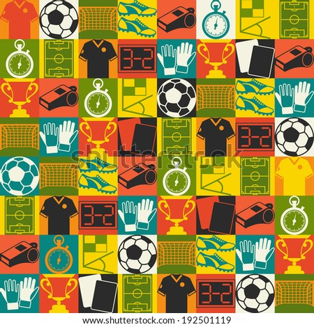 Sports seamless pattern with soccer (football) icons. - stock vector